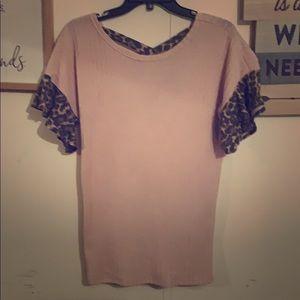 Tops - Sweater blouse w/leopard trim